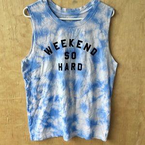 Fifth Sun Blue Tie-Dye sleeveless T-shirt Weekend